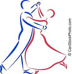 Dancing Paar Logo isoliert auf weißem Hintergrund.