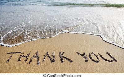 Danke, dass Sie auf dem Strand Sand gezeichnet haben.