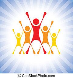 darstellen, vektor, sieg, leute, usw, begeistert, graphic., mannschaft, dieser, abbildung, herausforderung, auch, achievers, gewinner, achievers, buechse, mitglieder, feiern, honigraum, aufgeregt, competition-