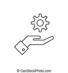 Das Außengetriebe-Icon ist auf weißem Hintergrund isoliert.