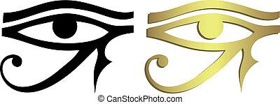 Das Auge des Horus in Schwarz und Gold