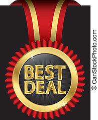 Das beste goldene Etikett mit rotem Rib