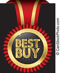 Das beste goldene Label mit rotem Ribb