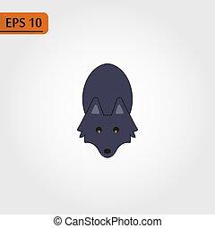 Das Bild des süßen kleinen Wolfs im Zeichentrickstil. Vector Kinder Illustration.