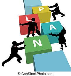 Das Business-Team schiebt PLAN zusammen.