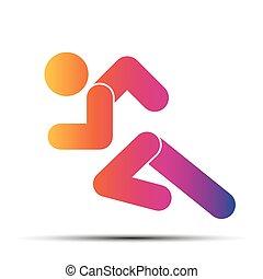 Das einfache Symbol des Laufens, isoliert auf einem weißen Hintergrund.