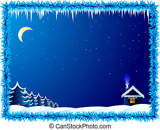 Das einsame Haus in frostiger Nacht