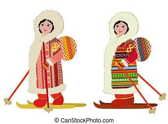 Das Eskimo-Mädchen in der Skitasche