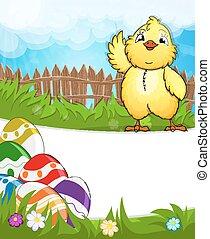 Das flauschige Huhn wirft seinen Flügel