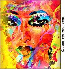 Das Gesicht einer abstrakten Frau