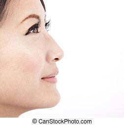 Das Gesicht einer schönen Asiatin, die im weißen Hintergrund isoliert ist