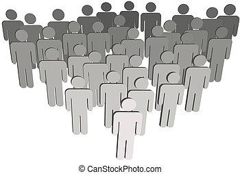 Das Gruppenunternehmen oder die Bevölkerung von 3D symbolisiert Menschen auf Weiß