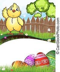 Das Huhn schlägt seinen Flügel