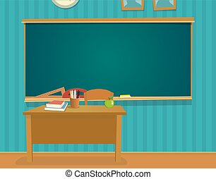 Das Interieur des Klassenzimmers mit Schreibtisch und Tafel.