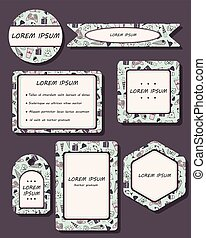 Das künstlerische Set von Visitenkarten für einen Spielzeugladen, Kinderarzt und Aktionsführer.