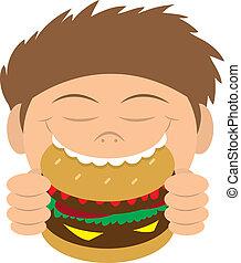 Das Kind isst Hamburger