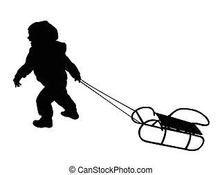 Das Kind zieht Silhouette.