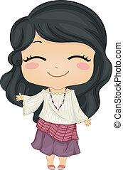 Das kleine Filipina-Mädchen mit nationalen Kostümen Kimonna.