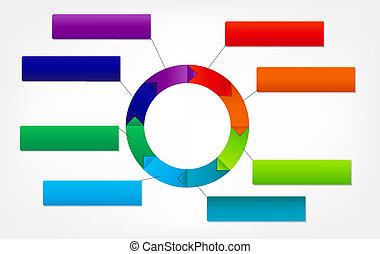 Das Konzept farbenfroher, zirkulärer Transparente mit Pfeilen für verschiedene Geschäftsdesigns. Vektor Illustration