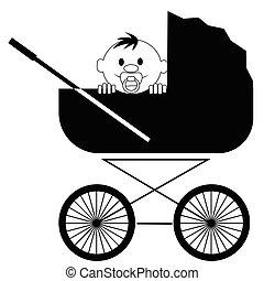 Das lächelnde Baby mit einem Pacifier sitzt im Kinderwagen.