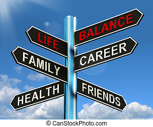 Das Lebensbilanzzeichen zeigt Gesundheit und Freunde der Familie