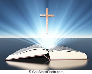 Das Licht leuchtet aus der Bibel unter dem Kreuz