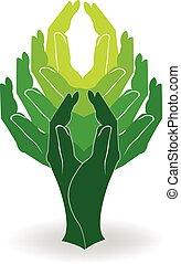 Das Logo der grünen Baumhände.
