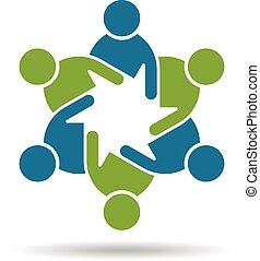 Das Logo der Leute. Teamwork 6 gro