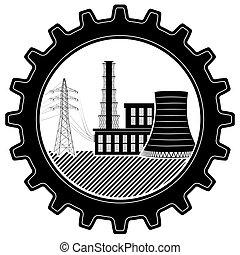 Das Logo ist industriell. Wärme- und Atomkraftwerk.