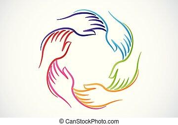 Das Logo Teamwork gibt Einheitsleuten die Hand.
