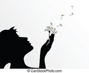 Das Mädchen bläst auf einer Blume einen Löwenzahn. Eine Vektor-Illustration