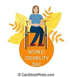 Das Mädchen ist im Rollstuhl behindert. Weltunterbrechungstag. Vector Illustration.