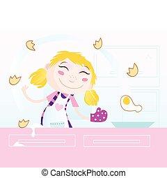 Das Mädchen kocht