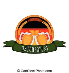 Das Oktoberfest-Label mit zwei Bierbechern