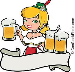 Das Oktoberfest-Mädchen serviert Bier. Vector Illustration