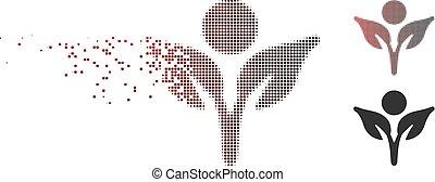 Das Pixel-Halbton-Öko-Symbol wird zerstört