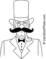 Das Portrait des schwarzen und weißen Gentleman mit Hut, Brille und Schnurrbart