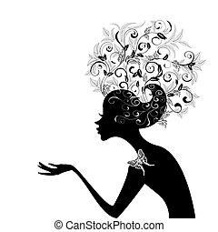 Das Profil eines Mädchens mit dekorierten Haaren