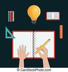 Das Schreiben des Lernens, das Bildungs-Icons Schuldesign.