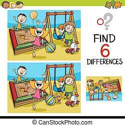 Das Spiel der Differenzen mit Kindern.
