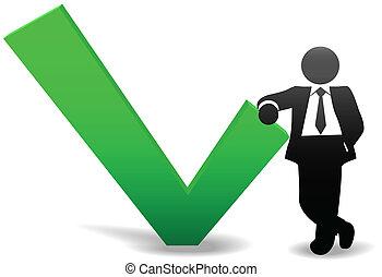 Das Symbol der Geschäftsleute lehnt sich auf OK Check Mark