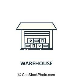 Das Symbol der Vektorlinie des Warehouse, lineares Konzept, Umrisszeichen, Symbol.