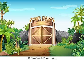 Das Tor zum Dinopark.