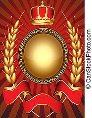 Das Vintage-Hintergrund-Schrift und Krone