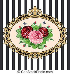 Das Vintage-Rosen-Straußrahmen