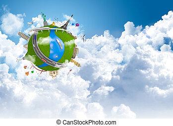 Das World Dream Globus-Konzept zu reisen.