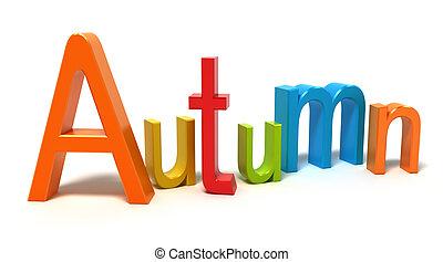 Das Wort Herbst mit bunten Buchstaben