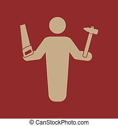 Das Zimmermann Avatar Icon. Baumeister und Handwerker, Handwerkersymbol. Flat