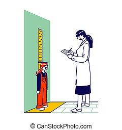 daten, leute, notebook., höhe, stehende , abbildung, zeichen, linear, kontrollieren, skala, medizin, wenig, weibliche , development., m�dchen, doktor, schreibende, vektor, messen, wachstum, wand, kinder