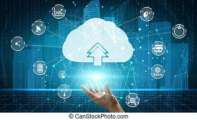 daten, online, anteil, technologie, global, rechnen, wolke, informationsspeicherung